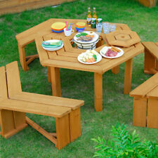 Outdoor Natural wood hexagon garden patio six seater picnic table set furniture