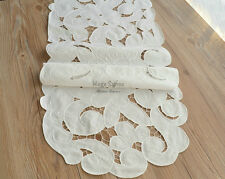 Vintage Victorian White Table Runner Geometric Embroidered Floral