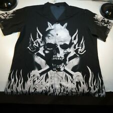 NEW NWT CASUAL OUTFITTERS SKULL CROSSBONES BIKER MOTORCYCLE BOWLING SHIRT Sz 2X