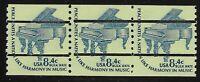 US Scott #1615CdV, Strip of 3 1978 Grand Piano 8.4c FVF MNH