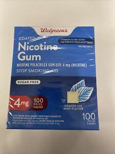 Walgreens Nicotine Gum, 4mg, 100pcs, Coated Ice Mint Flavor, Exp:12/2022
