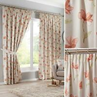 Orange Tape Top Curtains Floral Ready Made Lined Pencil Pleat Curtain Pairs