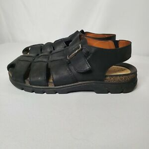 Ecco Men's Fisherman Style Black Leather Cork Sandals Shoes Size 43 US 9/9.5