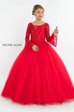 Authentic Rachel Allan 1702 Red Girls Pageant Gown Dress Bell Sleeves sz 10