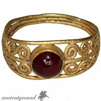 MUSEUM QUALITY ROMAN GOLD 24c RING WITH OPEN WORKS & CARNELIAN STONE CIRCA 300 A