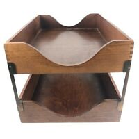 Mid Century Modern Wood 2 Tiered Paper Tray Letter Holder Vintage Office MCM