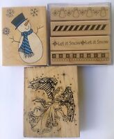 Lot of 6 ChristmasWinter Rubber Stamps Snowman Angel Border PSX Stampabilities