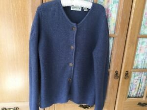 ORVIS Ladies Cardigan Size M (14/16) In 100% Cotton Chunky Knitted In Blue