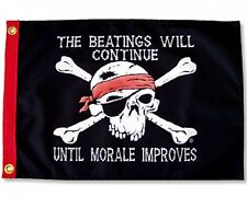 """Beatings Will Continue Boat Flag 12X18"""" New Pirate Double Sided Flappin Flags"""