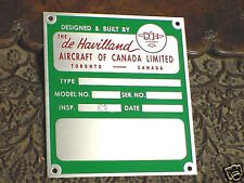 De Havilland Aircraft  Data Plate Deep Acid Etched Aluminum 1950 - 1980