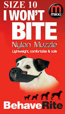 DOG MUZZLE No 10 Staffy Bull Terrier Size MIKKI I WON'T BITE Fabric Dog Muzzle