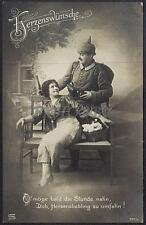 AK Postcard 1915 Army Soldiers Romance Armee Soldaten Woman Feldpost WWI (38)