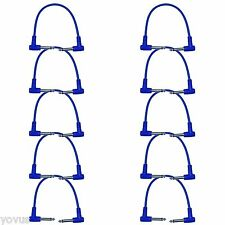 "10 PACK BLUE 1 ft foot Right angle to 1/4"" Guitar pedal jumper patch cord cables"