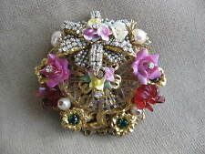 STANLEY HAGLER Goldtone Filigree PinkYellow Porcelain Flower Crystal Brooch Pin
