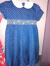 Hartstrings Girls Blue And White Polka Dot Dress Collared Smocked Size 6x