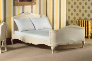 Dollhouse Miniature French-Style Cream Double Bed