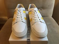 BIKKEMBERGS CHILLOUT WHITE YELLOW PERFORATED LEATHER LOW TOP SNEAKERS SHOES 44 1