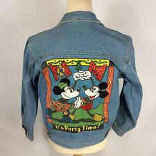 Vintage 1980's Womens Mickey Mouse Minnie Denim Jean Coat Jacket M Disney Party!
