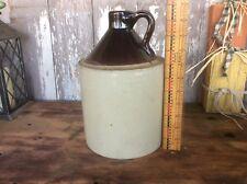 Vintage Two Tone One Gallon Crock Jug ? , Whiskey Stoneware , Country Primitive