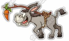 "Donkey Following Carrot Funny Cartoon Gift Car Bumper Vinyl Sticker Decal 6""X3"""