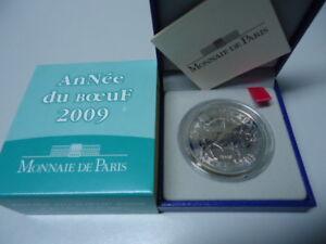 FRANKREICH 2009 - 5 Euro in Silber, PP - JAHR DES BÜFFEL Lunar Boeuf Ox