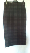 M&S Ladies Grey & Black Check Elasticated Straight Skirt, size 14