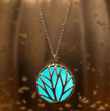 Luminous Pretty Magic Fairy Locket Glow in The Dark Steampunk Pendant Necklace 3d Cube (blue)