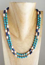 Collier 2 rgs turquoise lapis lazuli et perles de rivière création unique