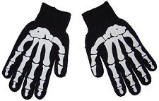 Gothic Horror Punk 80s Goth Misfit White Skeleton Bones Mens Black Work Gloves