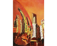 Downtown Chicago, IL watercolor painting- Millenium Park and skyscrapers (print)
