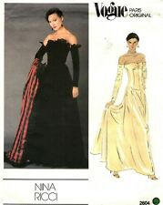 Vogue Paris Original Sewing Pattern Women's EVENING DRESS 2604 Nina Ricci 14 UC