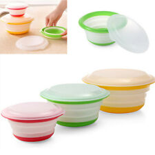 3x Silicone Collapsible Bowls Lids Set Stackable Food Containers Storage Box