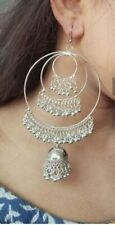 Indian Jhumka Jhumki Earrings 00 Kashmiri Mugal Bollywood Hoop Silver Oxidized