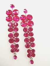 Exquisite Hot Pink Crystals Waterfall Drop Style Dangle Stud Long Earrings