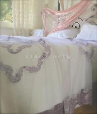 Shabby Hampton Chic Lace Velvet Queen King Bed Quilt Lavender Bedspread Coverlet