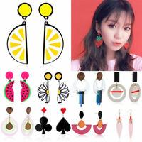 Fashion Fruit Acrylic Geometric Long Dangle Ear Stud Earrings Women Girl Jewelry