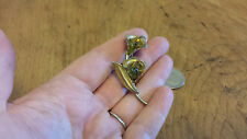 Vintage Lily Pin w green stones Brooch Estate gold finish Art Deco