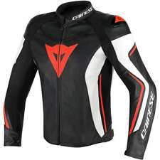Giacca Giubbotto moto scooter DAINESE PELLE ASSEN NERO/BIANCO/ROSSO FLUO