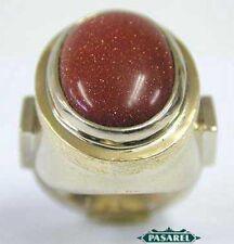 14K White Gold Goldstone Designer Oval Ring Size 5.5