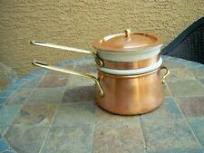 Vintage 2qt Copper Double Boiler Pot Pan w Ceramic insert Brass Handles