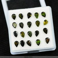 7+ Ct/20 Pcs Untreated Olive Green Tourmaline Pear Faceted 6X4mm Calibrated Gems