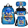 Kids School Backpack Movie Sonic the Hedgehog Pattern Lunch Shoulder Pen Bag Lot
