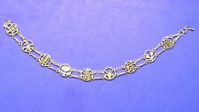14K gold bracelet w/5 good luck Chinese characters and 4 seasons flowers design
