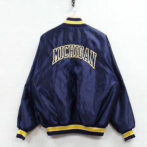 Vintage Michigan Wolverines DeLong Satin Bomber Jacket XL 90s NCAA Made USA