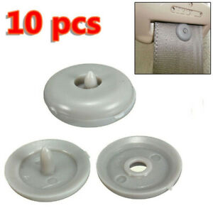 Universal Seat Belt Buckle Stop Button Gray Grey Plastic Car Vehicle Accessories