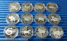 2005-2016 Singapore Lunar Series $2 20gm 999 Fine Silver Proof Coin (12 pieces)