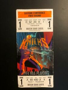 """""""KNICKS"""" 1994  HOME GAME ONE  NBA PLAYOFFS TICKET-STUB Seat 1 Madison Square"""
