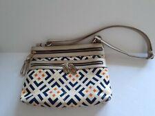 Spartina 449 Crossbody Handbag, Leather & Linen, Navy/Orange, Gold Metallic Trim