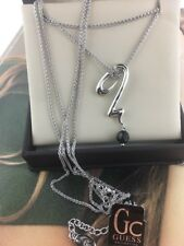 """NEW Guess Sterling Silver 925 Onyx Half Heart Friend Ship Adjustable Pendant 20"""""""