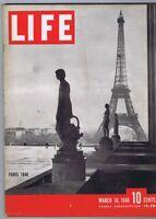 ORIGINAL Vintage March 18 1946 Life Magazine Eiffel Tower Paris